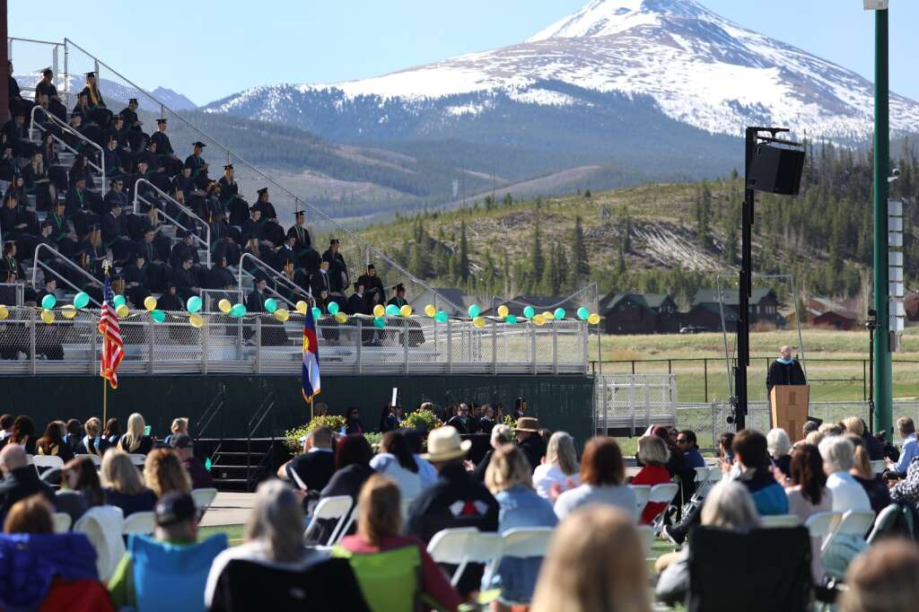 Summit High School Principal Tim Ridder speaks during a graduation ceremony for the class of 2021 on Saturday, May 29, in Breckenridge.   Photo by Ashley Low