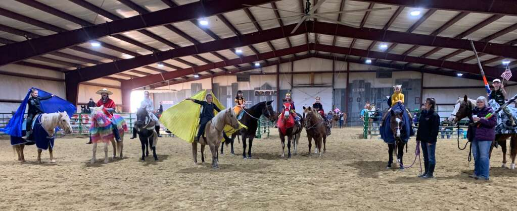 Young riders dress in Halloween costumes as part of a fun day event at the Kluz equine facility. Photos courtesy Ashley Kluz