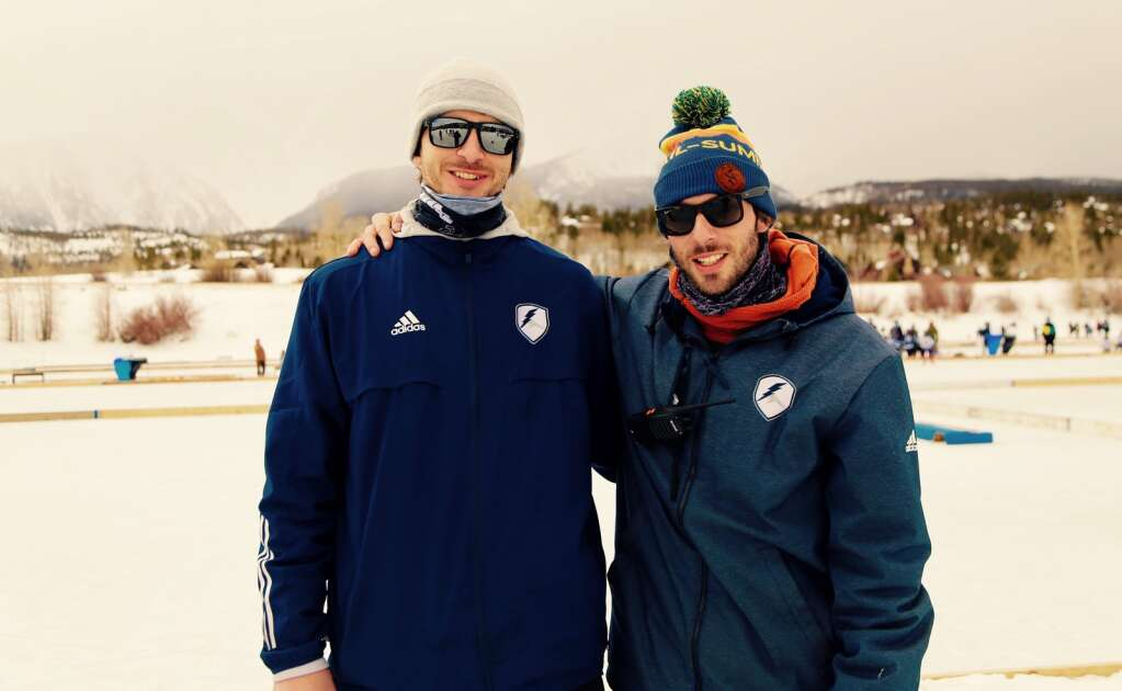 Summit Youth Hockey Director of Operations JR Engelbert (left) and Director of Hockey Chris Miller take a photo together at this past weekend's Colorado Youth Pond Hockey Tournament at North Pond Park in Silverthorne. | Photo from Michael Ascher