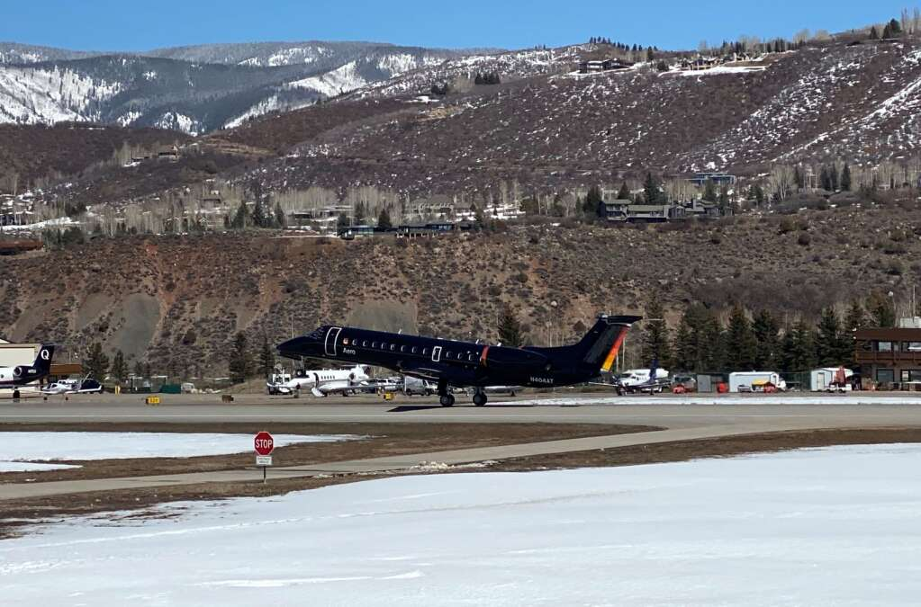 An Aero Embraer ERJ135 aircraft takes off from Aspen-Pitkin County Airport in March. The luxury airline launched earlier this year. | Courtesy photo