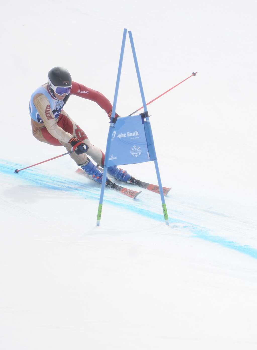 Steamboat Springs native and Denver University skier Cole Puckett competes in Giant Slalom race of the Spring Series at Steamboat Resort on Tuesday.