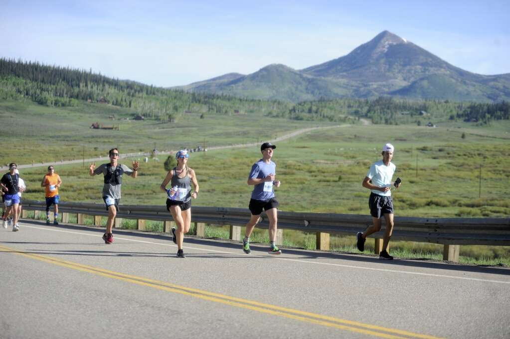 Even as they ran uphill, participants of the Steamboat Marathon couldn't help but smile on Sunday morning. (Shelby Reardon)