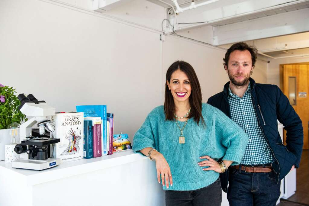 Aspen Covid Testing co-owners Suzanna Lee and Isaac Flanagan stand in the lobby of their testing center in Aspen on Friday, Jan. 22, 2021. (Kelsey Brunner/The Aspen Times)