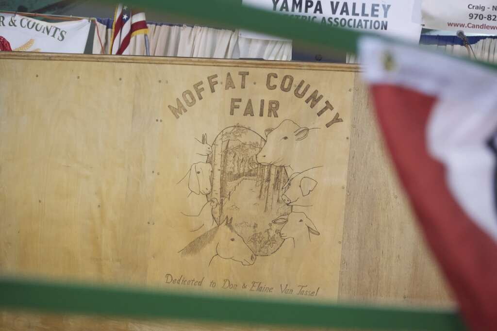 The Moffat County Fair logo is on display at the Moffat County Fair livestock auction Saturday evening. | Cuyler Meade / Craig Press