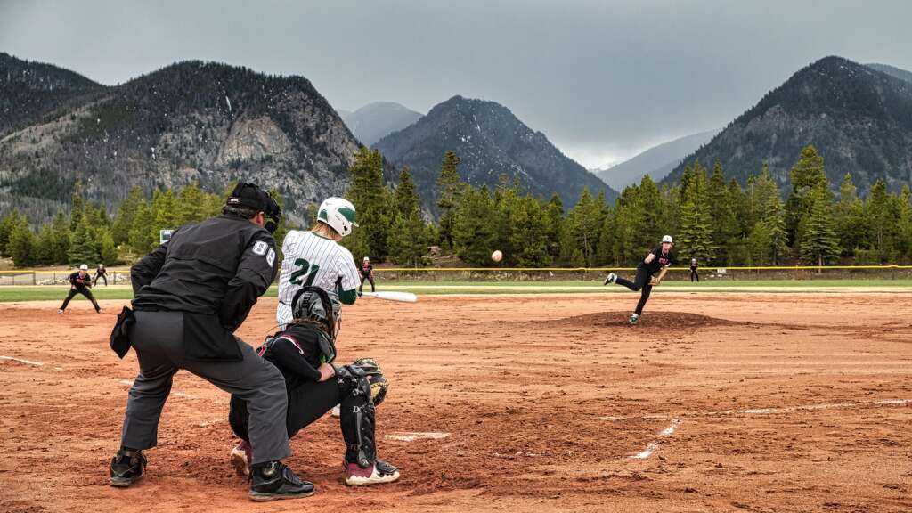 Brecken Perlow hits a line drive during the Summit High School varsity baseball team's pair of wins over Eagle Valley at the Frisco Peninsula Recreation Area in Frisco on Tuesday.   Photo by Joel Wexler / Rocky Mountain.Photography