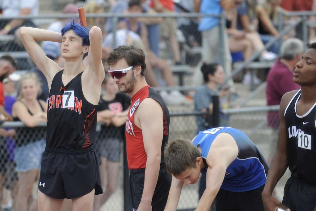Hayden junior Kale Johnson gets in the zone ahead of the 4x800 at the CHSAA Track and Field State Championships at JeffCo Stadium on Thursday. (Photo by Shelby Reardon)