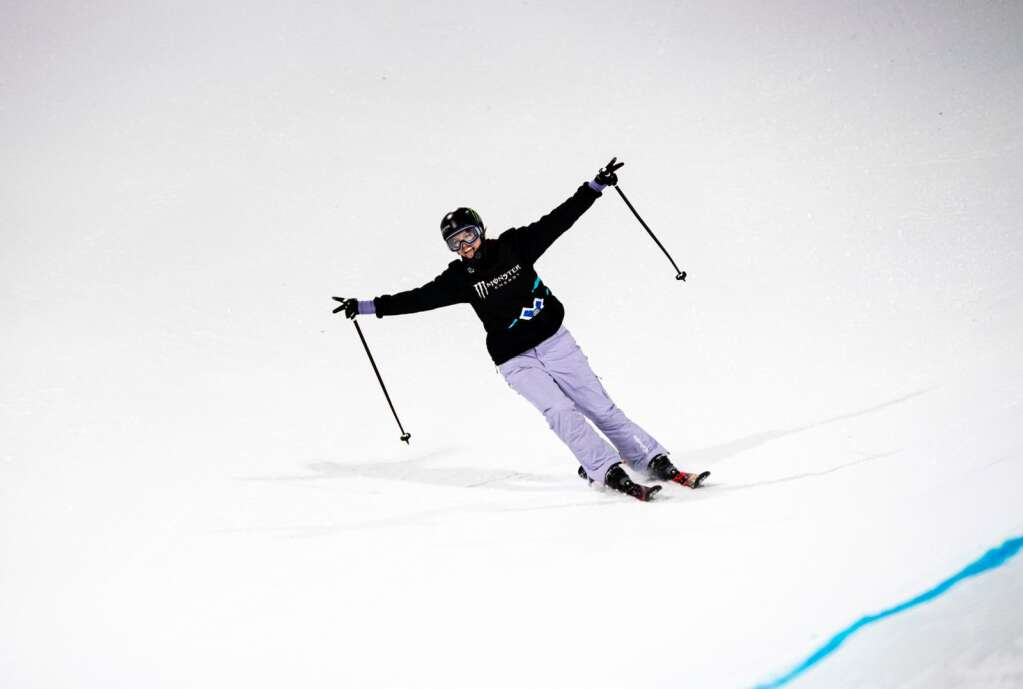X Games skier Cassie Sharpe celebrates after a successful run during the women's ski superpose finals on Saturday, Jan. 25, 2020. Sharpe took home the bronze medal. (Kelsey Brunner/The Aspen Times)