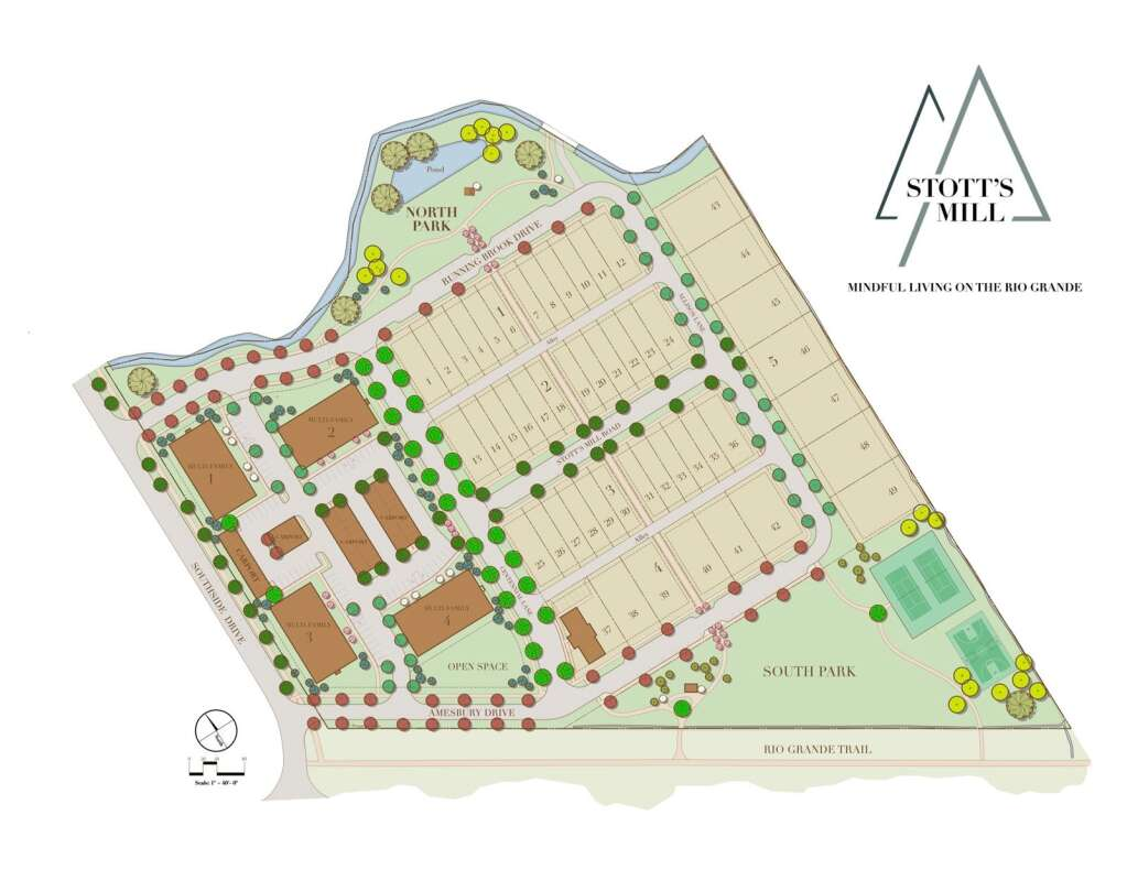 The site plan for Stott's Mill features four apartment buildings on the west edge and 49 single-family and duplex lots in the core and east side. | Courtesy image