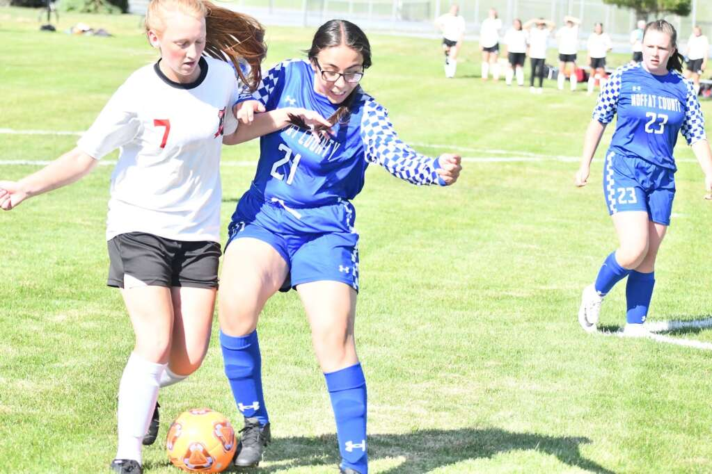 Alondra Soto, right, challenges a Grand Valley player for the ball during Moffat County girls soccer's home finale Thursday in Craig. | Andy Bockelman/For the Craig Press