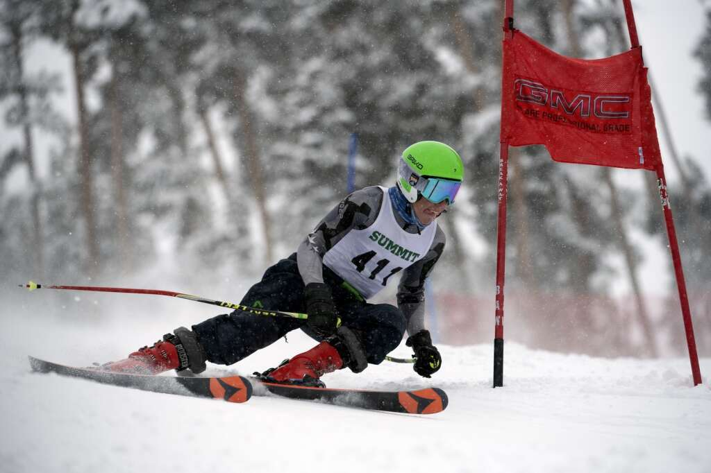 Summit High School Alpine ski team racer Michael Cheek competes in giant slalom during a ski competition at Keystone Resort on Friday, Feb. 5, 2021.   Photo by Jason Connolly / Jason Connolly Photography