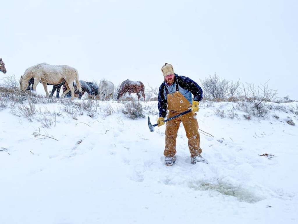 More ice than snow: Texas ranchers chopped ice for more than a week to water their stock. Courtesy of RA Brown Ranch