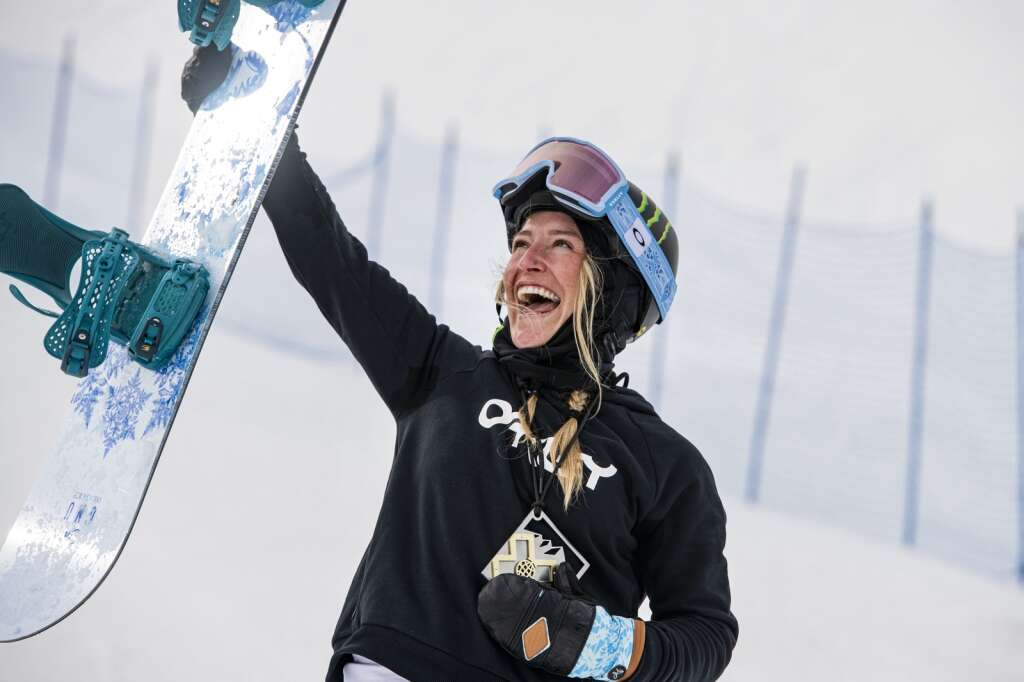 Jamie Anderson holds her 7th gold medal in slopestyle after winning the 2021 womens slopestyle final at X Games Aspen at Buttermilk on Friday, Jan. 29, 2021. Anderson is now tied with Shaun White for the most X Games medals with 18 collectively. (Kelsey Brunner/The Aspen Times)