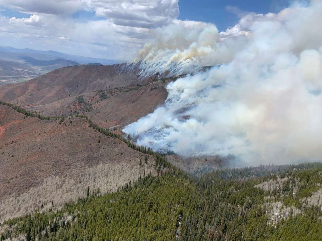 A photo provided by the U.S. Forest Service shows the Collins Creek prescribed burn north of Aspen on May 7, 2021.   Courtesy photo