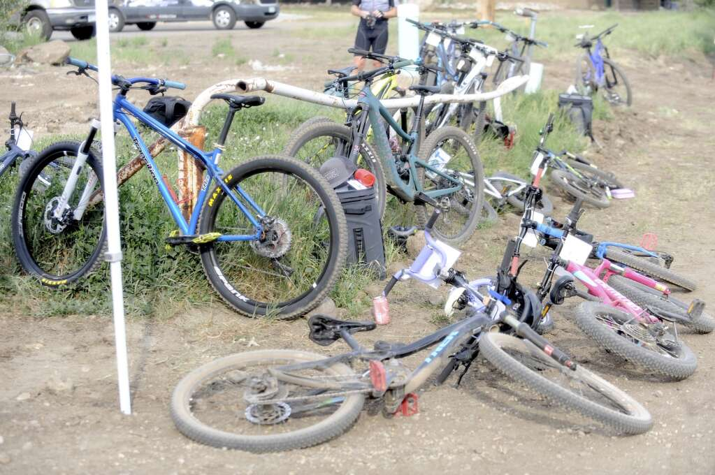 Bikes were splayed everywhere at the Town Challenge Emerald Endurance race on Wednesday evening. (Photo by Shelby Reardon)