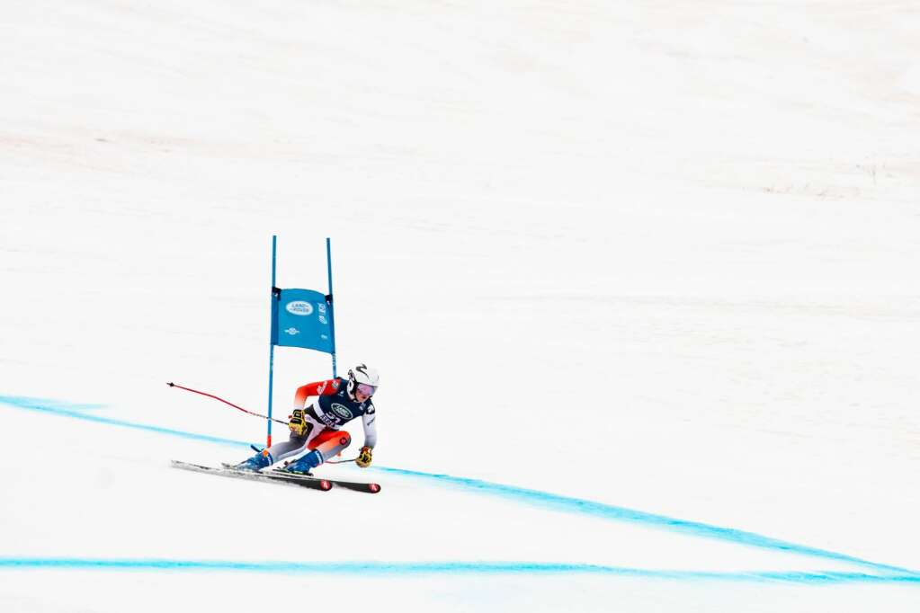 Canadian alpine skier Britt Richardson competes in the Women's Super G FIS event at Aspen Highlands on Tuesday, April 13, 2021. (Kelsey Brunner/The Aspen Times)