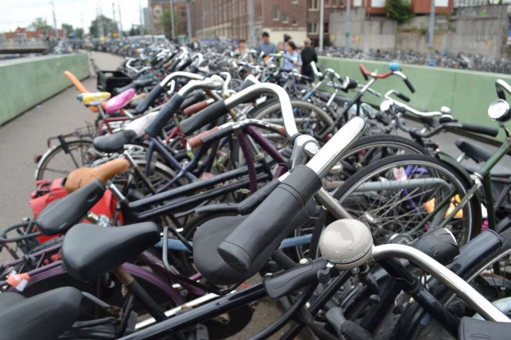 Rows and rows of commuter bikes in Amsterdam.