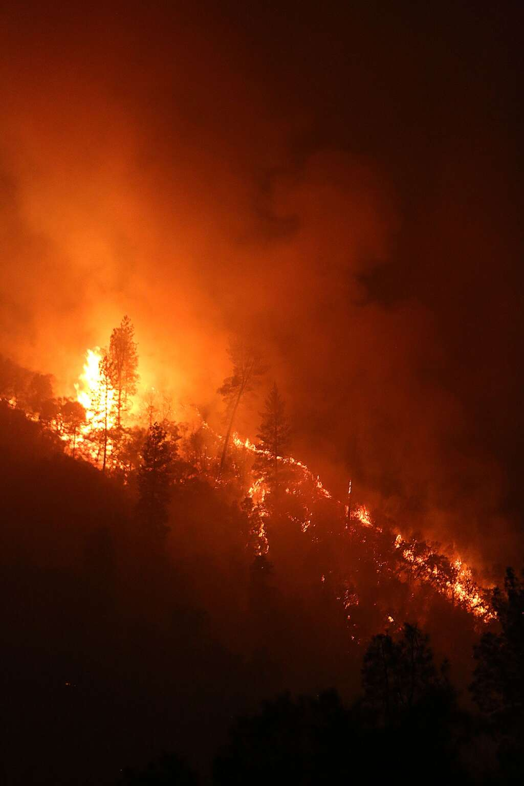 The flames from the Jones Fire consume vegetation throughout the first night of the fire Monday. 500 acres burned Monday including a handful of homes and outbuildings. | Photo: Elias Funez