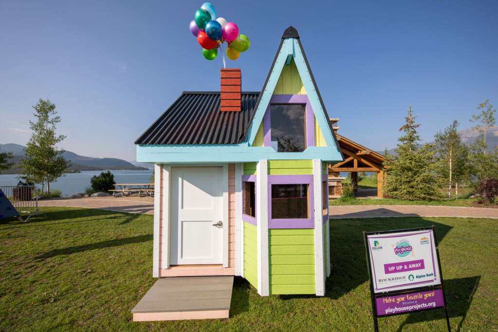 The Up Up & Away house for the Playhouse Project sits at Marina Park in Dillon on Friday, Aug. 6. The house was built by Rockridge Building Co.   Photo by Tripp Fay / Tripp Fay Photography