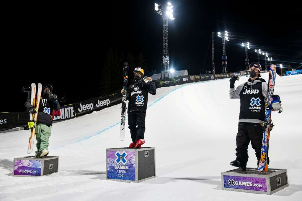 The three medalists for the men's ski superpipe finals at the 2021 X Games Aspen stand on the podium at Buttermilk on Friday, Jan. 29, 2021. (Kelsey Brunner/The Aspen Times)