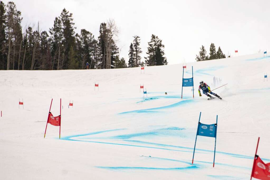 American alpine skier Cleo Braun competes in the Women's Giant Slalom National Championship at Aspen Highlands on Thursday, April 15, 2021. Braun finished 21st overall. (Kelsey Brunner/The Aspen Times)