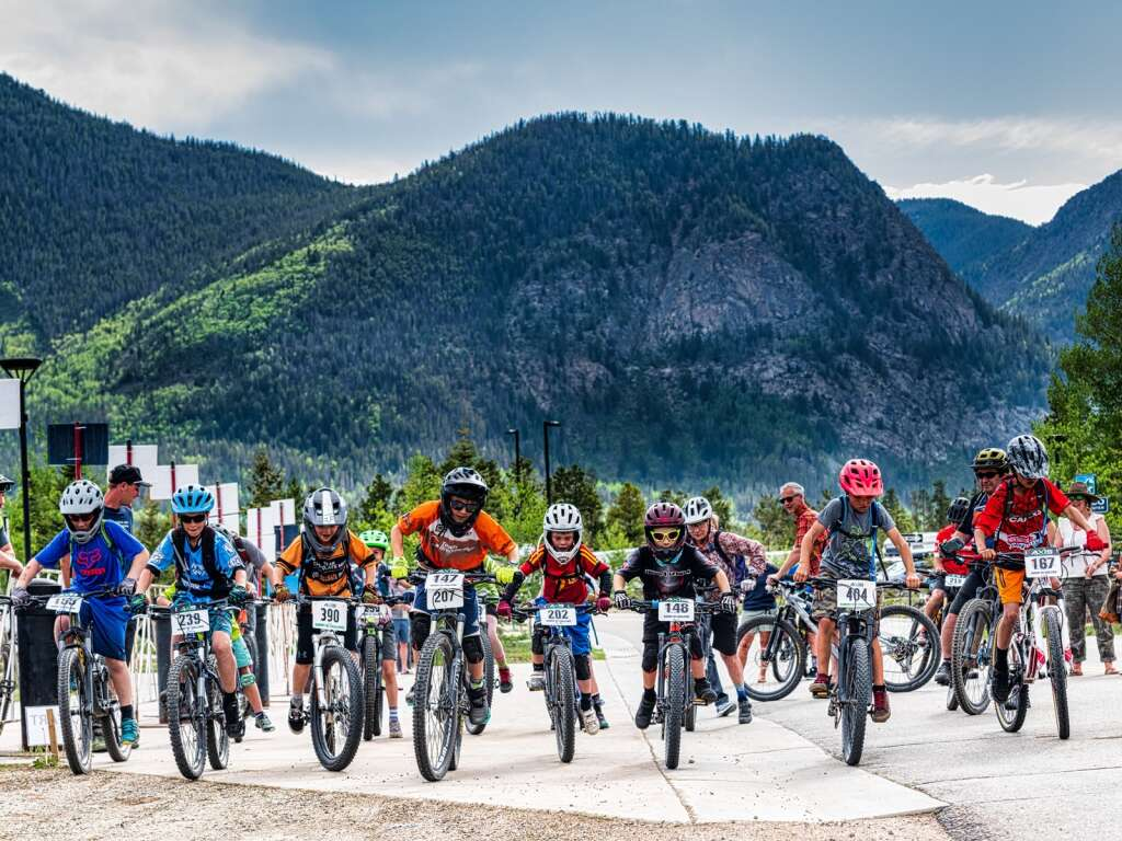 Youth racers depart from the start line at the Frisco Peninsula Recreation Area at the Frisco Roundup, the first Summit Mountain Challenge race of the summer, on Wednesday in Frisco.   Photo by Joel Wexler / Rocky Mountain.Photography