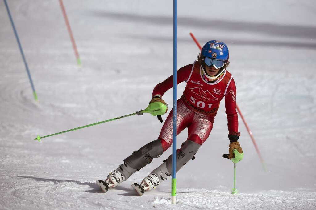 Steamboat Springs High School Alpine ski team racer Dawson Holmes navigates gates while skiing the slalom course during the Colorado High School State Alpine Ski Championships at Loveland Valley Ski Area on Thursday, March 11, 2021. | Photo by Jason Connolly / Jason Connolly Photography