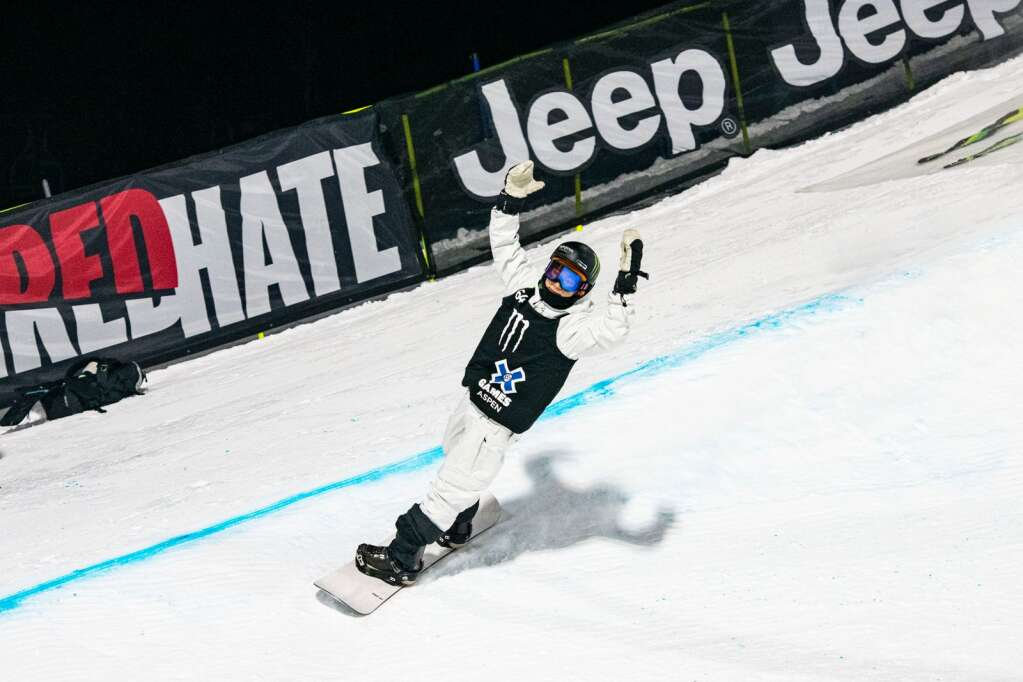 X Games gold medalist Yuto Totsuka finishes his final run during the men's superpipe finals during the X Games Aspen at Buttermilk on Sunday, Jan. 31, 2021. (Kelsey Brunner/The Aspen Times)