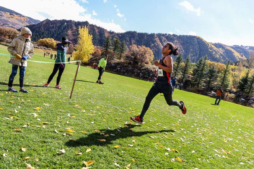 North Fork's Alejandro Garcia competes in the varsity boys high school cross country race of the Chris Severy Invitational on Saturday, Oct. 9, 2021, near Aspen High School. Photo by Austin Colbert/The Aspen Times.
