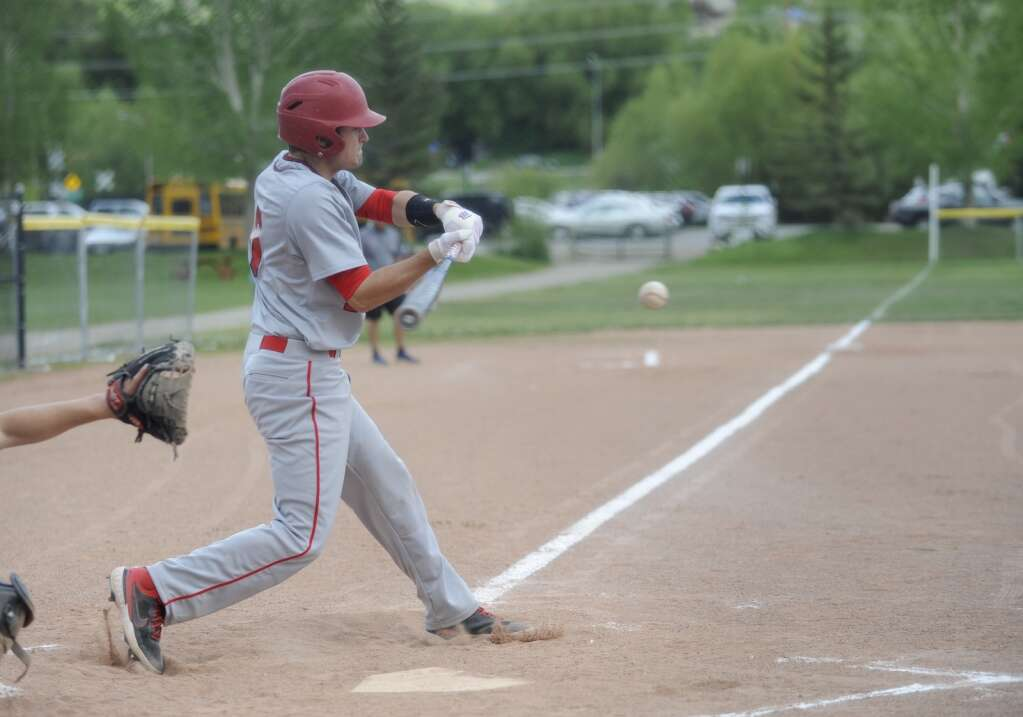 Steamboat Springs baseball player Walker Ripley makes contact during a game against Glenwood Springs on Tuesday evening.