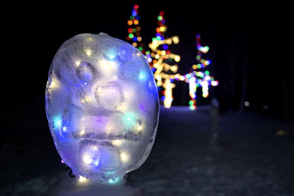 An ice sculpture is illuminated as part of the Make Frisco Arts Collective Winter Light exhibit at Frisco Historic Park & Museum on Tuesday, Jan 19. | Photo by Jason Connolly / Jason Connolly Photography