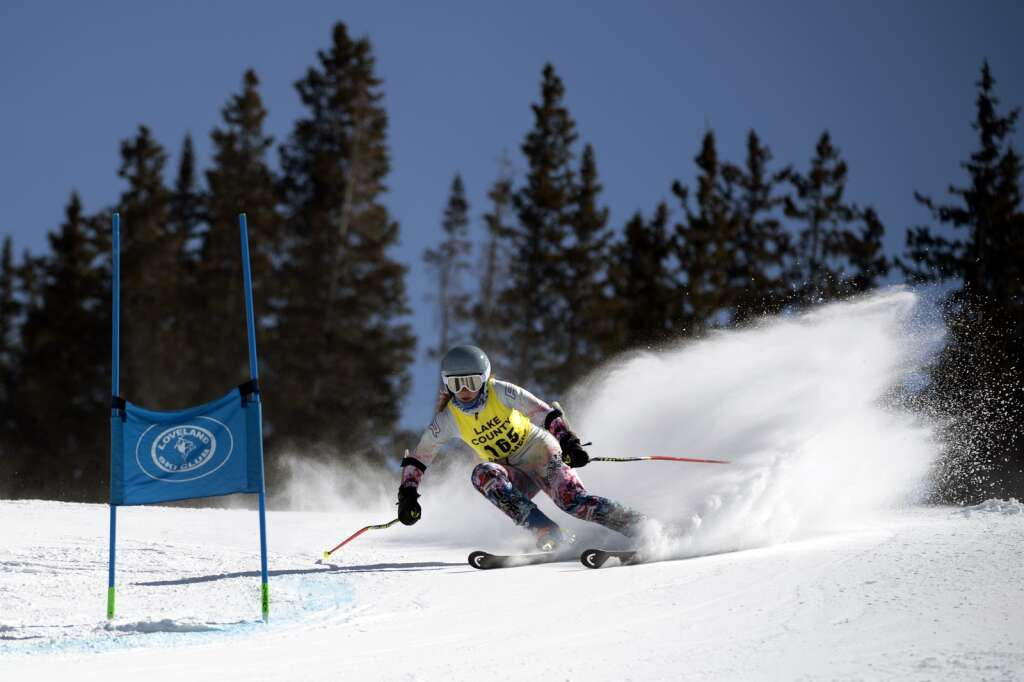 Lake County High School Alpine ski team racer Rowynn Slivka competes in the girls giant slalom race during the Colorado High School State Alpine Ski Championships at Loveland Ski Area on Friday, March 12, 2021.   Photo by Jason Connolly / Jason Connolly Photography