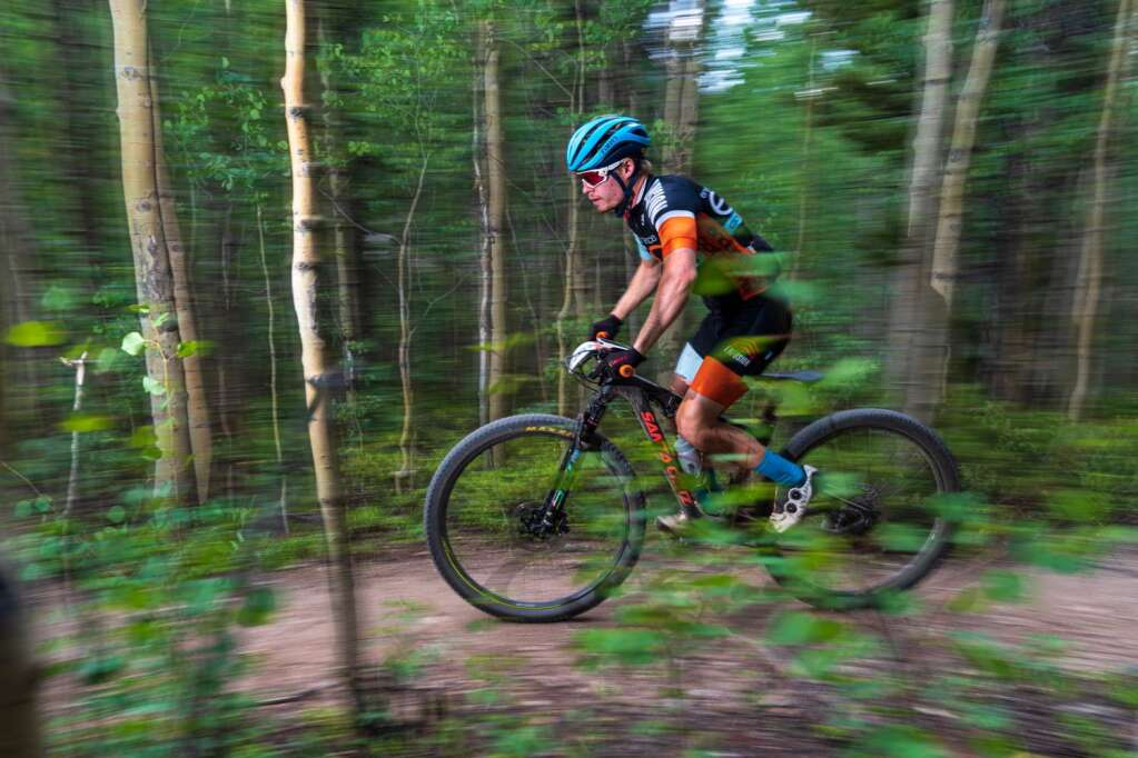 A racer rides during Tuesday's third stage of the six-day Breck Epic mountain bike race. | Photo by Liam Doran / Breck Epic