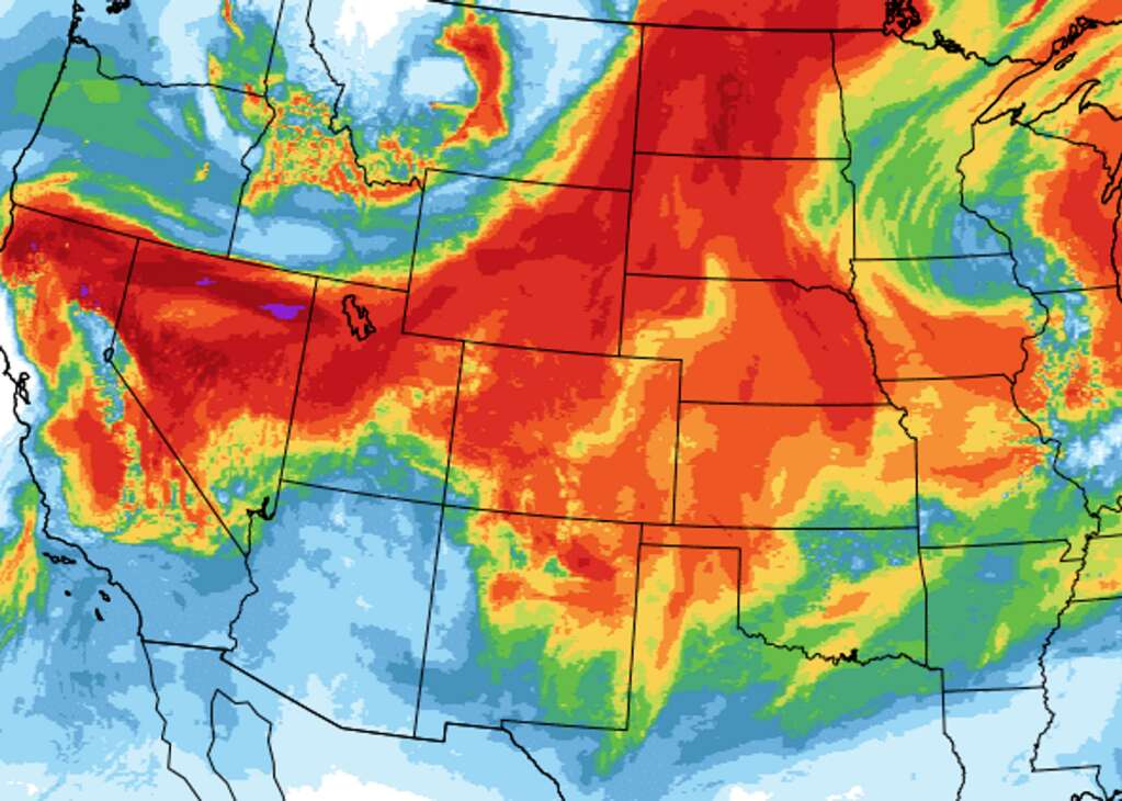 The smoke plume forecast from the National Oceanic and Atmospheric Administration predicts the area will see heavy smoke to start the week. This is the smoke forecast for noon on Monday.