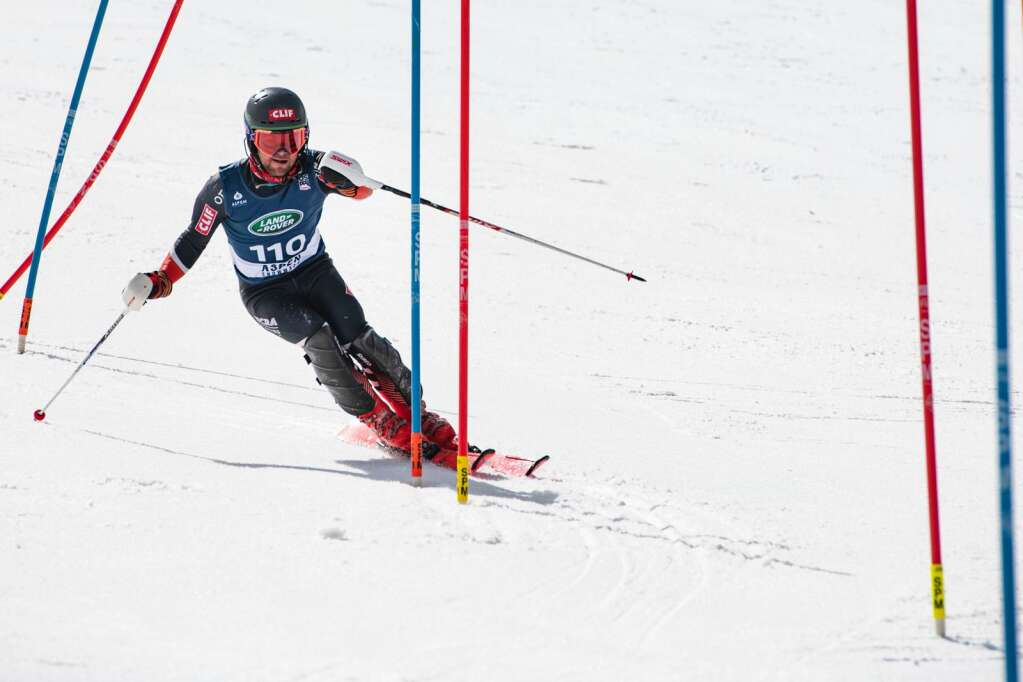 American alpine skier Bennett Snyder makes turns during the second run of the U.S. Alpine Championships at Aspen Highlands on Wednesday, April 7, 2021. (Kelsey Brunner/The Aspen Times)
