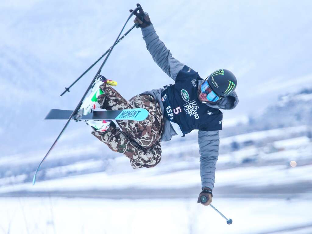 Nevada's David Wise competes in the men's freeski halfpipe final at the U.S. Grand Prix and World Cup on Sunday, March 21, 2021, at Buttermilk Ski Area in Aspen. Photo by Austin Colbert/The Aspen Times.