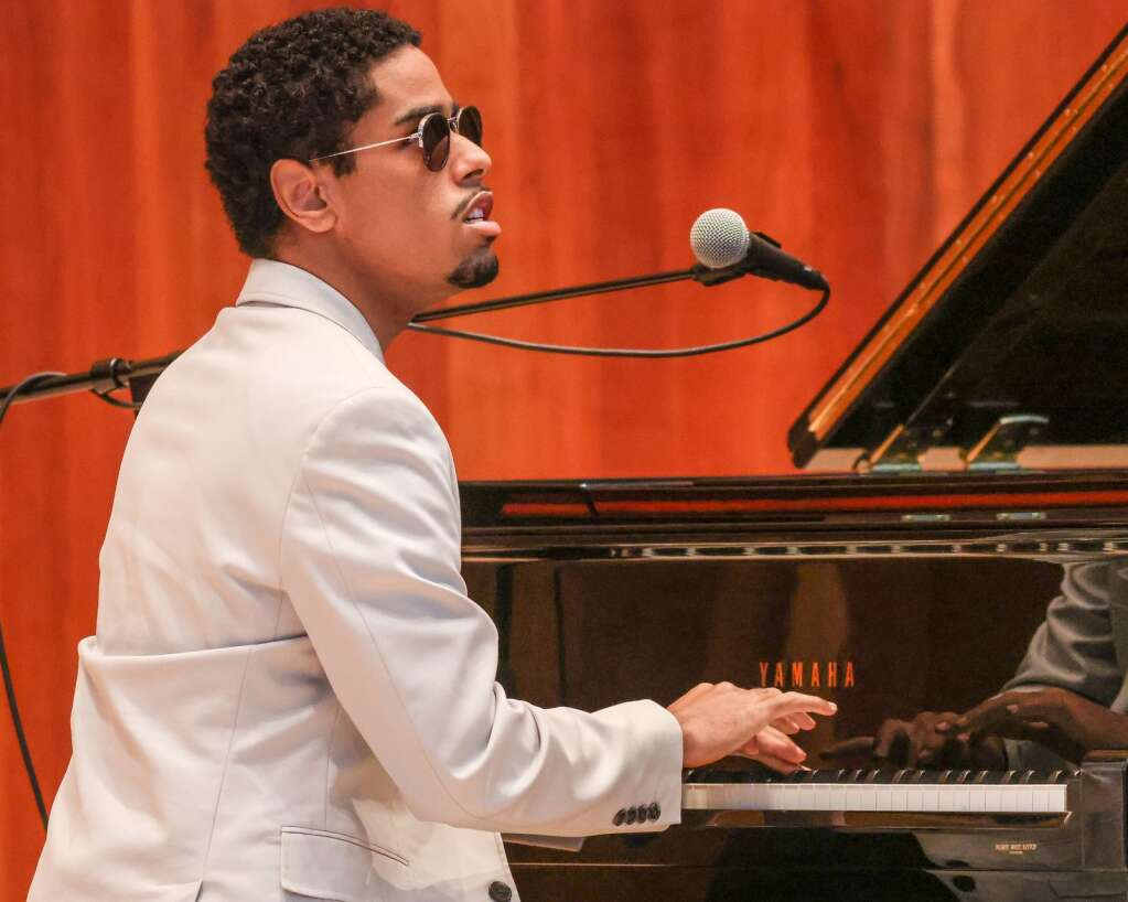 Pianist Matthew Whitaker performs in an Aspen Music Festival and School recital to kickoff the summer season on Thursday, July 1, 2021, inside the Benedict Music Tent in Aspen. Photo by Austin Colbert/The Aspen Times.
