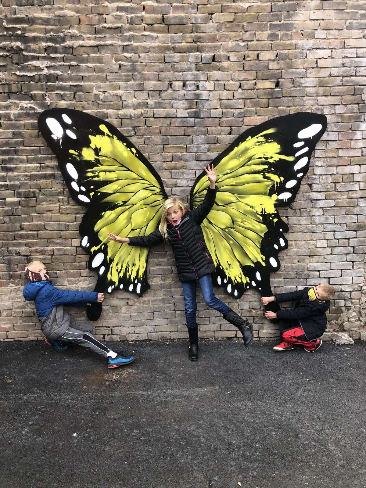 Butterfly flight turbulence from three children by the third set of wings.