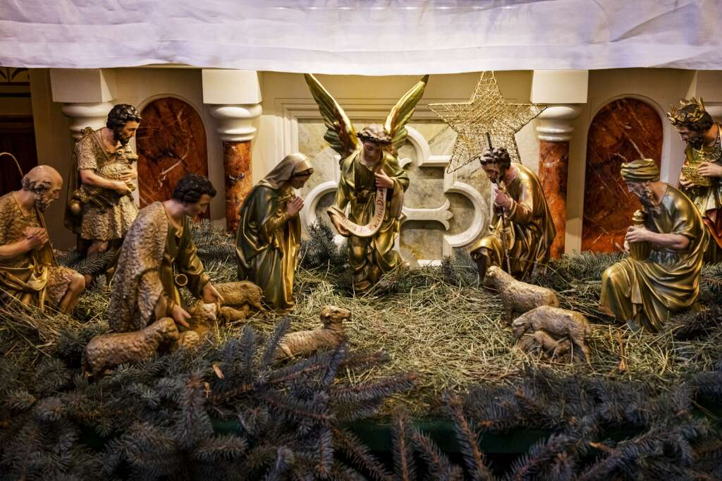 A nativity scene is displayed at the front of St. Mary Catholic Church before a Christmas Eve mass in Aspen on Dec. 24, 2020. (Kelsey Brunner/The Aspen Times)
