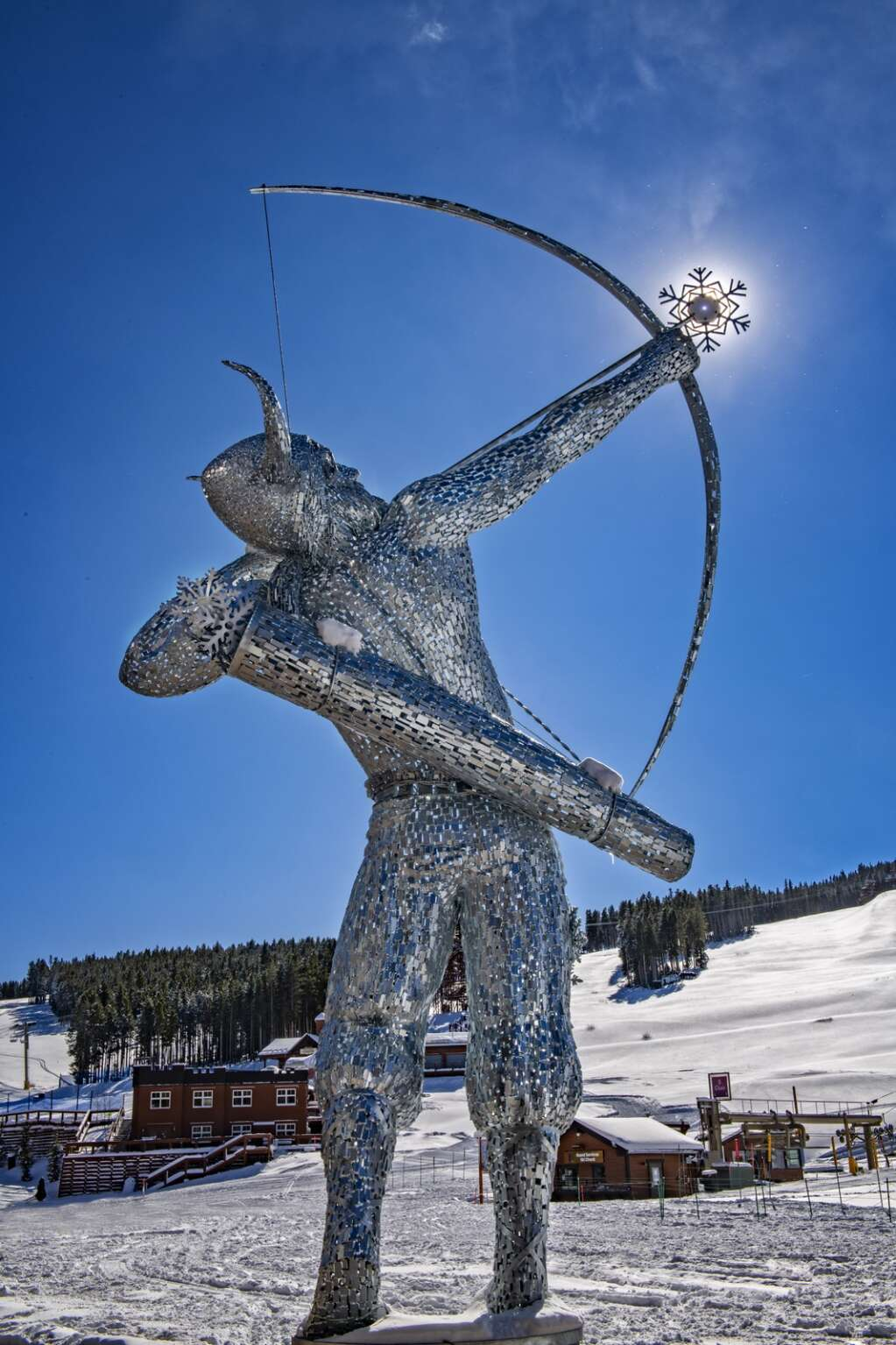 The sculpture of Ullr stands at the base of Peak 8 in front of the Grand Colorado on Peak 8 resort. | Photo by Carl Scofield / Breckenridge Grand Vacations